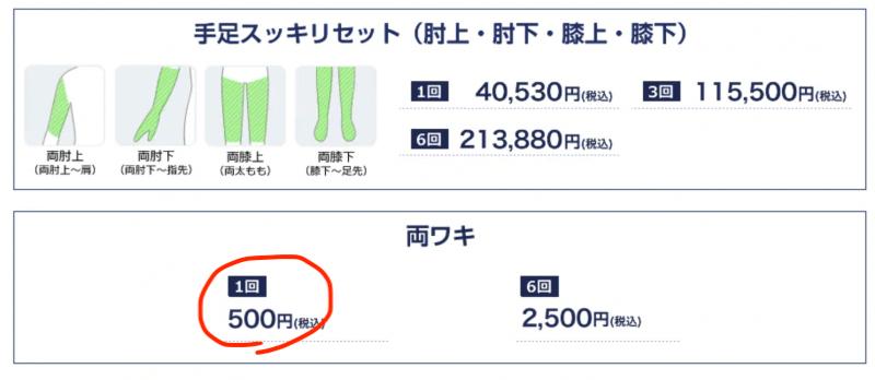 SBC 両脇1回500円